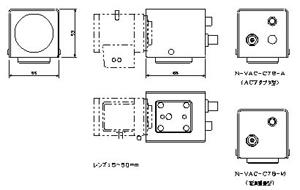 CSマウント型バリフォーカルレンズカラーカメラ 仕様 図面1